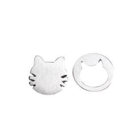 新款925纯银镂空猫咪不对称耳钉银饰耳钉女气质韩国