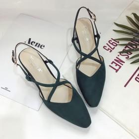 女鞋春简约罗马交叉绑带带性感尖头凉鞋粗跟中跟夏单鞋