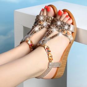 凉鞋女夏2017新款女鞋平底软底坡跟凉鞋中跟防滑波
