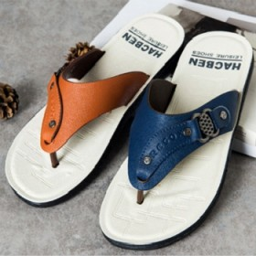 新款韩版时尚拖鞋人字拖男防滑沙滩拖鞋夏季夹趾PU皮