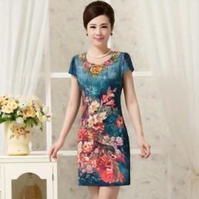 中老年女民族风连衣裙
