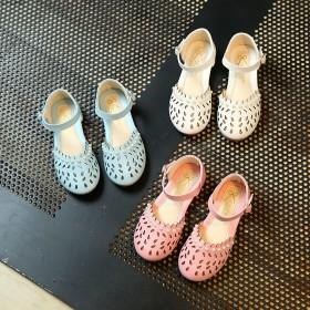 儿童凉鞋包头女童沙滩鞋公主粉色珠子平底鞋