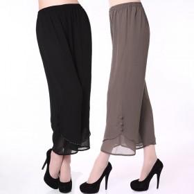 中老年女装夏装裤子宽松大码雪纺九分裤女中年妈妈装松