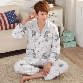 男睡衣男长袖纯棉夏季薄款家居服套装