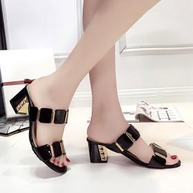 凉鞋中跟粗跟新款欧美时尚拖鞋女夏舒适防滑一字女士露