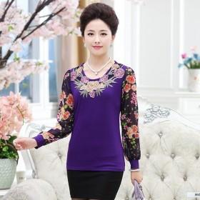 春装新款40-50岁中老年妇女长袖t恤上衣女装大码