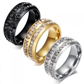 欧美时尚霸气黑金色宽戒指钛钢双排镶钻戒指 潮男女对