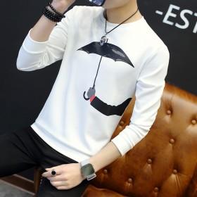 青少年长袖t恤 男 薄款韩版2017个性潮流打底衫