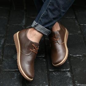 春季男鞋工裝鞋裂紋牛皮休閑鞋真皮英倫系帶低幫男單鞋
