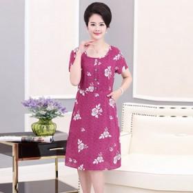 2017新款 中老年女装夏装 时尚短袖连衣裙