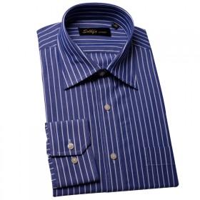 纯棉修身长袖衬衫条纹格子休闲衬衣