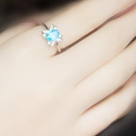 天然蓝色水晶仿真钻石戒指女 925纯银韩版时尚