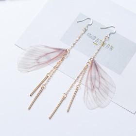 S925韩国气质长款耳环甜美清新蝴蝶翅膀长款耳