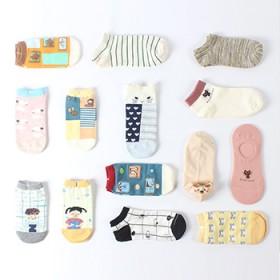 5条装女袜子运动糖果色棉袜浅口隐形袜