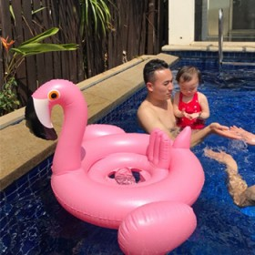 加厚宝宝游泳圈儿童火烈鸟白天鹅充气座圈婴儿小孩游泳