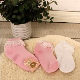 4双装女童袜子蕾丝花边纯棉春夏秋儿童棉袜小孩公主袜