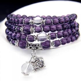 紫水晶星座手链女 韩版时尚百搭串珠手链多层手串手饰