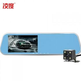 凌度星光夜视5寸屏后视镜行车记录仪双镜头汽车用品