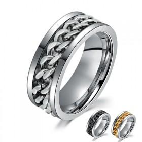 免费刻字!永不退色!霸气男士戒指 钛钢食指环时尚潮