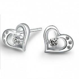 925银饰品耳钉耳饰女款镶钻爱心耳饰品