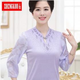 雪纺衫中老年妇女夏装T恤针织衫