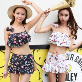 韩国沙滩小胸遮肚显瘦保守平角钢托分体裙式女泳衣