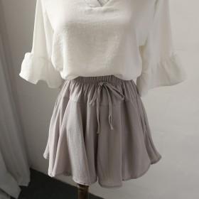 韩版夏季新品百搭雪纺细带半身裙大口袋休闲裤裙女装潮