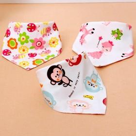 3只宝宝口水巾婴儿童三角巾纯棉加厚双层按扣新生儿