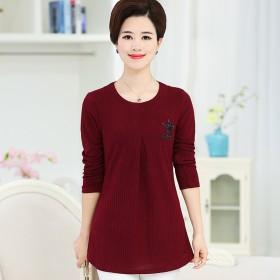 春秋季新款中年女装针织打底衫中老年长袖T恤中长款女