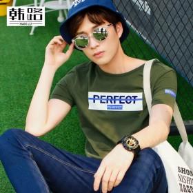韩男装2017夏装新品男士套头圆领青年短袖男t恤潮