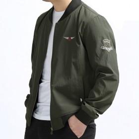 中青年棒球服飞行员夹克男胖子加肥加大码薄款短外套