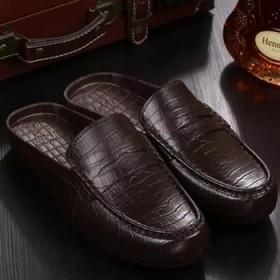 英伦豆豆皮凉拖鞋夏季新品包头半拖鞋男士沙滩鞋懒人休