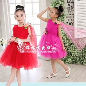 女童主持裙花童礼服蓬蓬演出服儿童表演公主裙纱