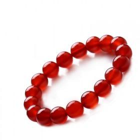 红玛瑙手链女单圈本命年转运饰品水晶柿子红手串男女款