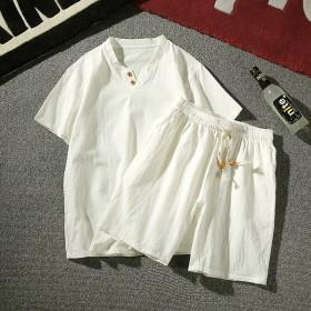 夏季大码新男士休闲全棉短裤韩版修身短T恤青少年运动