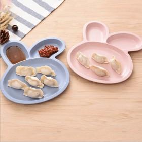 家用可爱盘子饺子盘带醋碟餐盘多用分格盘水饺瓜子盘