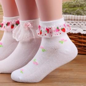 4双装春夏薄款儿童女童袜子网眼透气蕾丝花边公主袜