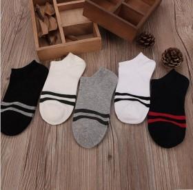 五双装 夏季纯棉男士船袜子二条杠薄款男袜