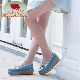 MG CAMEL女鞋真皮圆头浅口厚底松糕百搭单鞋
