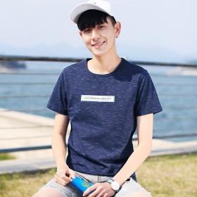 休闲男装夏季新款 男式t恤 时尚字母印花男式圆领短
