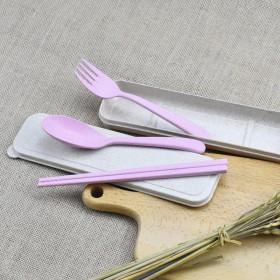 小麦秸秆筷子勺叉餐具三件套