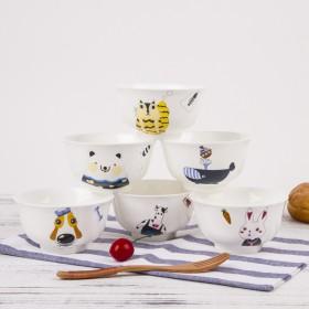创意卡通陶瓷4.5寸饭碗6个套装