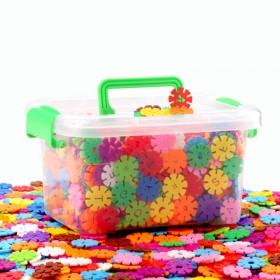 【300片收纳盒装】雪花片拼插积木益智幼儿园玩具