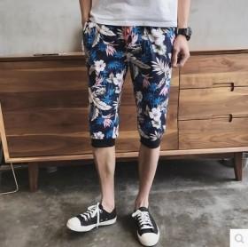 夏季胖人印花7分薄款运动短裤男加大码印花韩版修身七