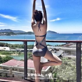 泰国超性感露背连体泳衣女 显瘦遮肚比基尼泳装女士