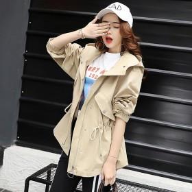风衣中长款韩版春秋2017新款收腰长袖连帽外套女装