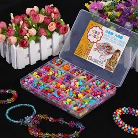 宝宝DIY糖果色串珠儿童益智手工编织玩具24格盒装