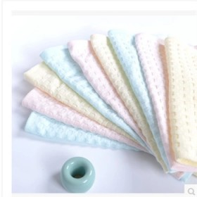 新生儿华夫格蜂巢小方巾纯棉纱布婴儿口水巾一条包邮
