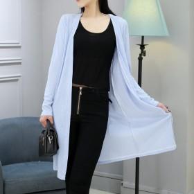 春夏季薄款防晒衣空调衫中长款针织开衫外套百搭披肩海