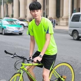 男士短袖t恤加肥加大码青年户外运动休闲服晨跑套装